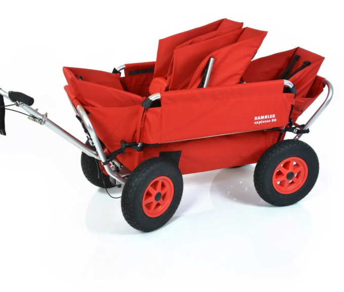 Rambler Explorer 80 (für 4 Kinder) + 1 Duo-Babysitz + 2 Kindersitze + Hinterer Rahmen 3