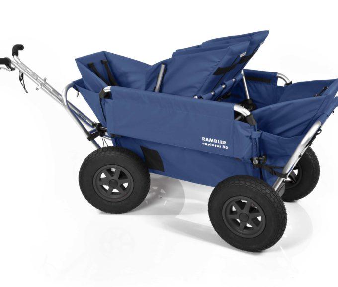 Rambler Explorer 80 (für 4 Kinder) + 1 Duo-Babysitz + 2 Kindersitze + Hinterer Rahmen 18