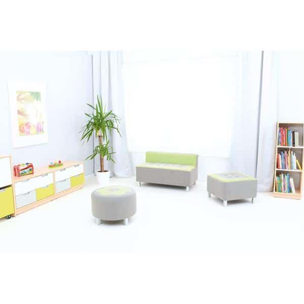 Kindergarten-Sofa Premium - gerade - grau/grün 3
