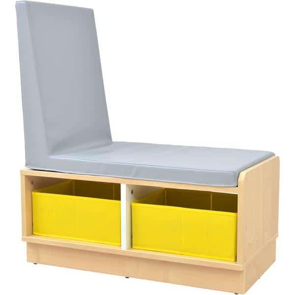 Kindergarten-Bücherregal Quadro - Schrank mit Sitzbank - Ahorn 2