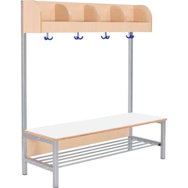 Kindergarten-Garderobe Flexi 4 mit Gestell - Fachbreite: 28 cm 10