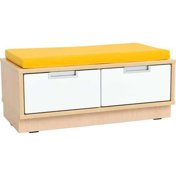 Quadro - Sitzbank mit Schubladen - Breite: 79 cm - mit gelber Matte 1