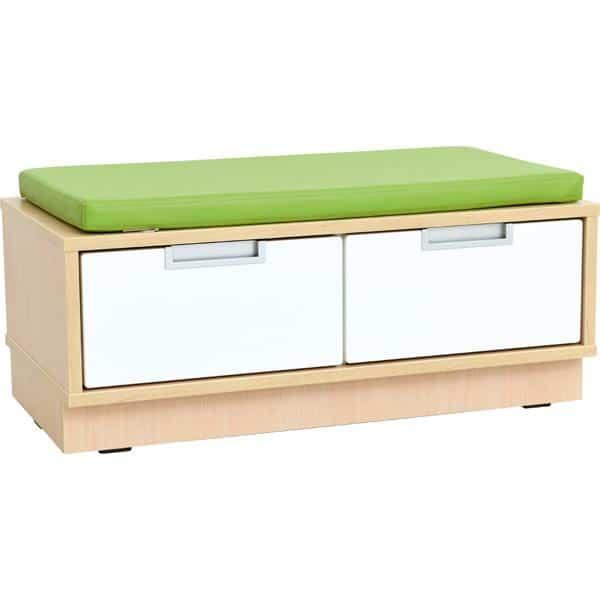 Quadro - Sitzbank mit Schubladen - Breite: 79 cm - mit grüner Matte 1