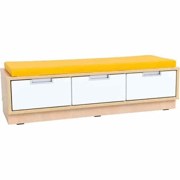 Quadro - Sitzbank mit Schubladen - Breite: 116 cm - mit gelber Matte 1