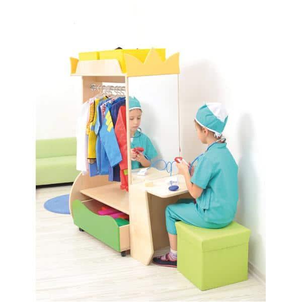 Kindergarten-Garderobe Flexi mit Seitenablage und Spiegel 2