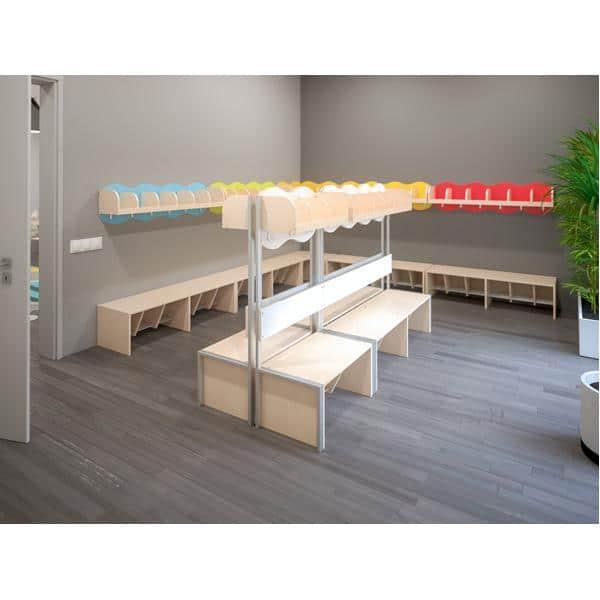 Kindergarten-Garderobe Wolke 3 mit Gestell - Ahorn 8