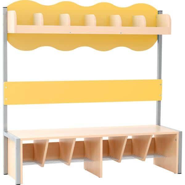 Kindergarten-Garderobe Wolke 6 mit Gestell - Ahorn 1