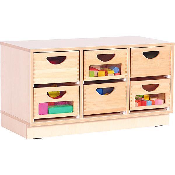 Kindergarten-Schrank S mit 2 Trennwänden - für Holzbehälter - auf Sockel - Breite: 89 cm 1