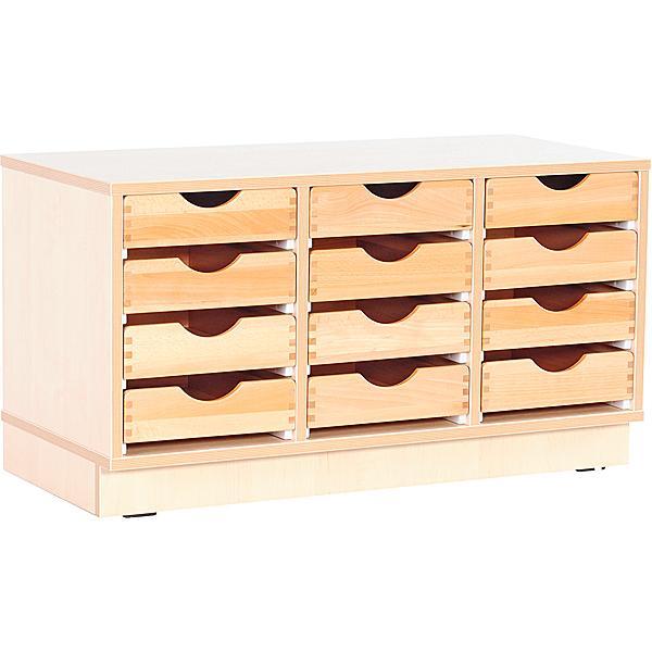 Kindergarten-Schrank S mit 2 Trennwänden - für Holzbehälter - auf Sockel - Breite: 89 cm 2