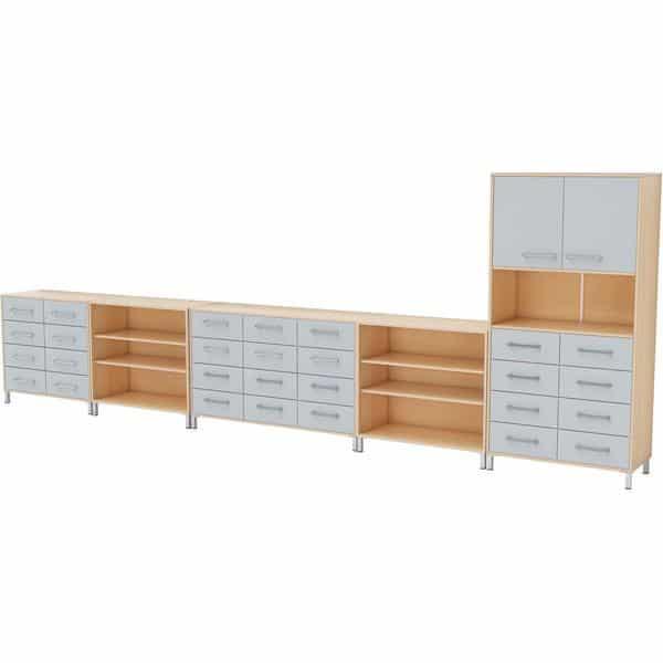 Möbelsatz Schrank inkl. Schubladen + Hochschrank + Regal - Premium 1 - grau 1