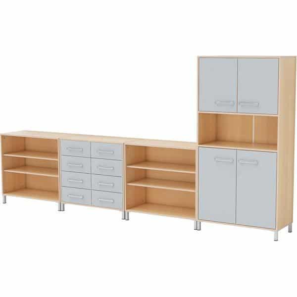 Möbelsatz Schrank + Hochschrank + Regal - Premium 3 - grau 1