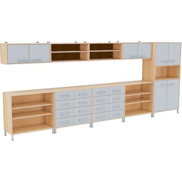 Möbelsatz Schrank + Hochschrank + Regal + Hängeregal - Premium 4 - grau 1