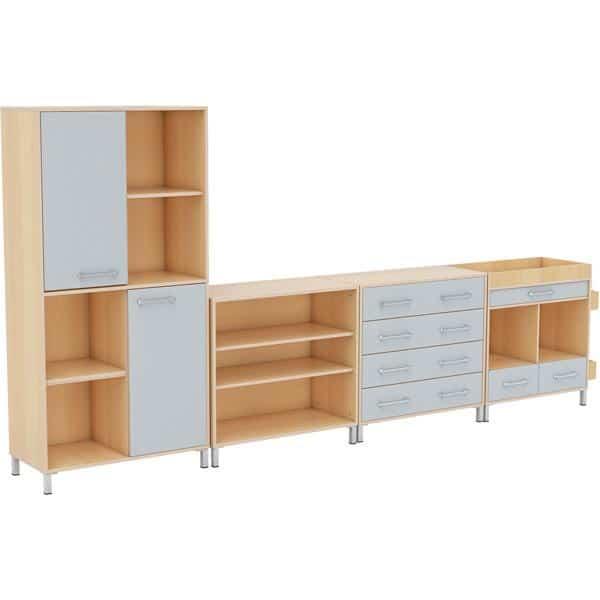 Möbelsatz Schrank inkl. Schubladen + Hochschrank + Regal - Premium 8 - grau 1