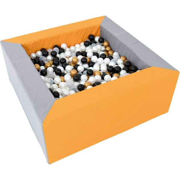 Bällebad quadratisch 1,5m - grau-senf - Höhe: 60 cm 2