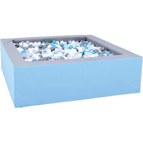 Bällebad quadratisch 2m - grau-hellblau - Höhe: 60 cm 1
