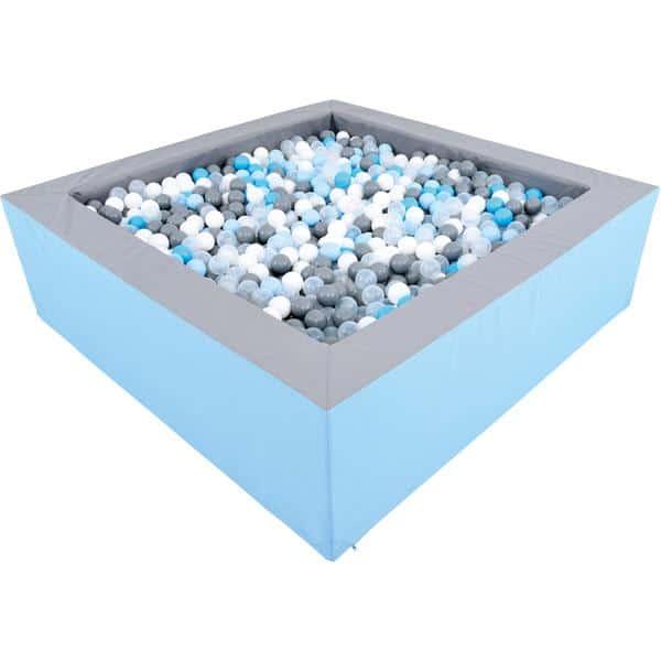 Bällebad quadratisch 2m - grau-hellblau - Höhe: 60 cm 2