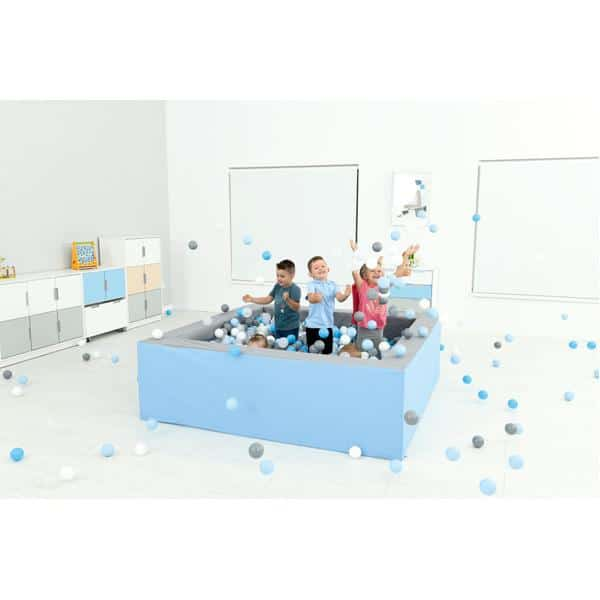 Bällebad quadratisch 2m - grau-hellblau - Höhe: 60 cm 4