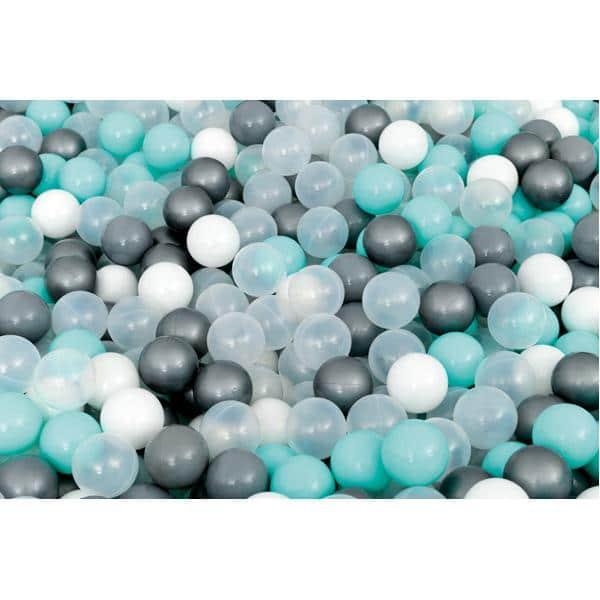 Bällebad quadratisch 3m - grau-hellgrün - Höhe: 60 cm 2
