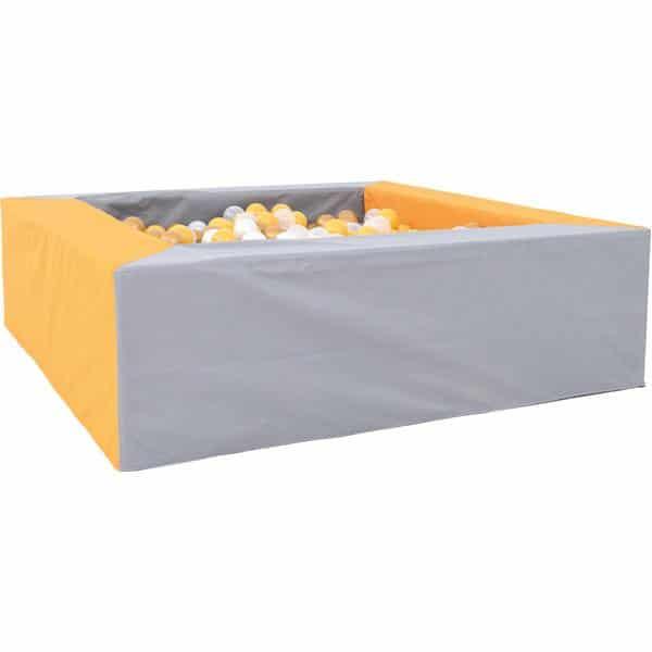 Bällebad quadratisch 1,5m - grau-senf - Höhe: 45 cm 1