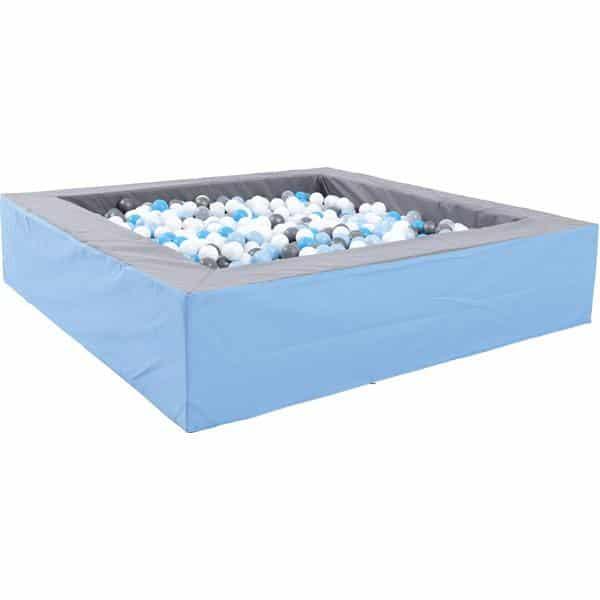 Bällebad quadratisch 2m - grau-hellblau - Höhe: 45 cm 1