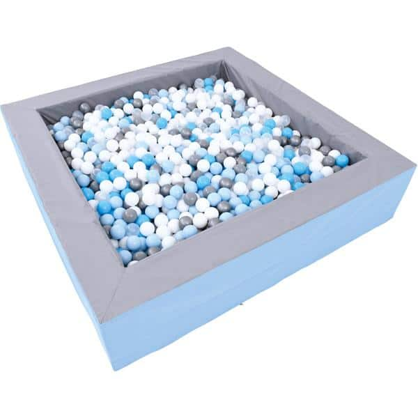 Bällebad quadratisch 2m - grau-hellblau - Höhe: 45 cm 2