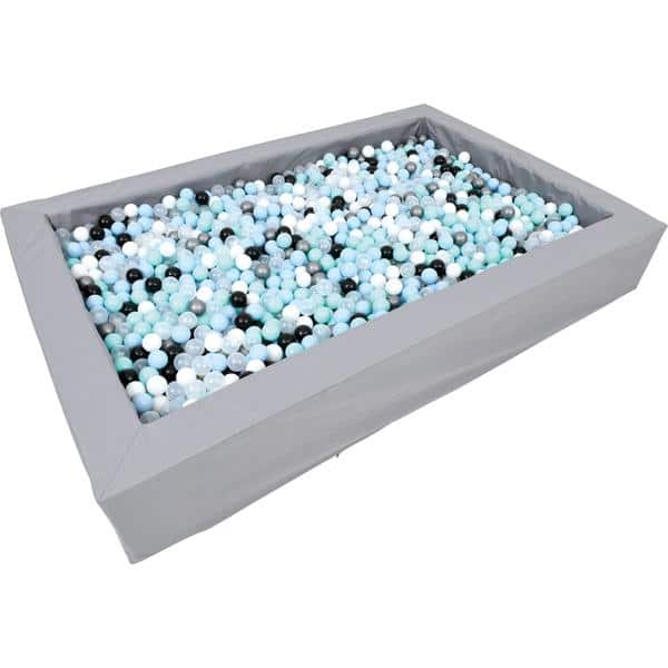 Bällebad rechteckig 3m - grau - Höhe: 45 cm (inkl. Bälle blau-mint) 2
