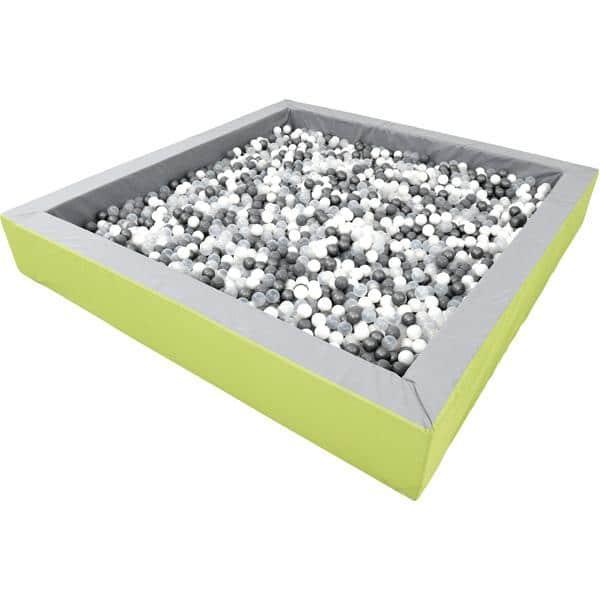 Bällebad quadratisch 3m - grau-hellgrün - Höhe: 45 cm 2