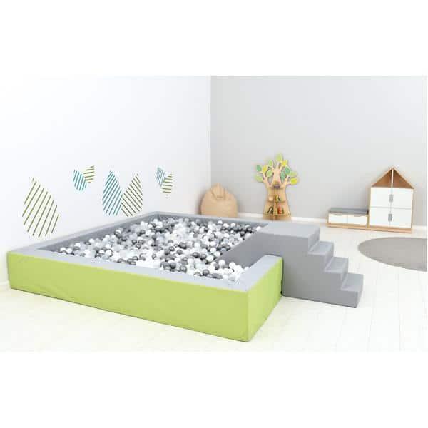 Bällebad quadratisch 3m - grau-hellgrün - Höhe: 45 cm 4