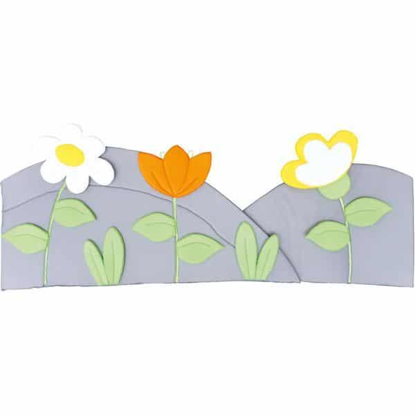 Wanddekoration - Wiese mit 3 Blumen - grau 1