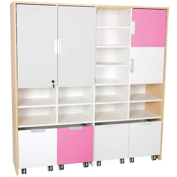 Mehrfunktionen-Schrank XL mit 4 schmalen Rollbehältern - Breite: 154 cm - grau/flieder/weiß (Quadro 65-180°) 1