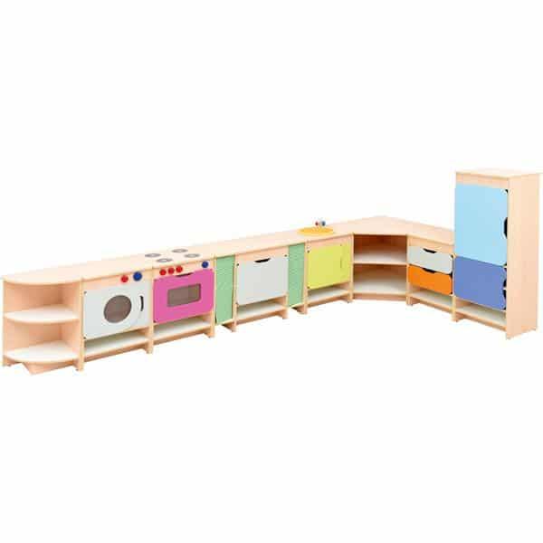 Kindergarten-Spielecke Küche Quadro - Ahorn - Set mit Kühlschrank 1