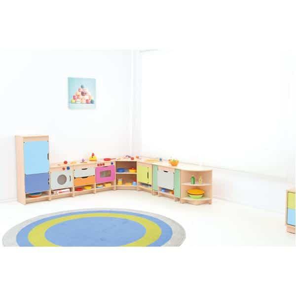 Kindergarten-Spielecke Küche Quadro - Ahorn - Set mit Kühlschrank 4