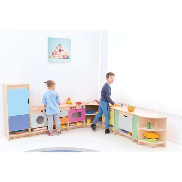 Kindergarten-Spielecke Küche Quadro - Ahorn - Set mit Kühlschrank 2