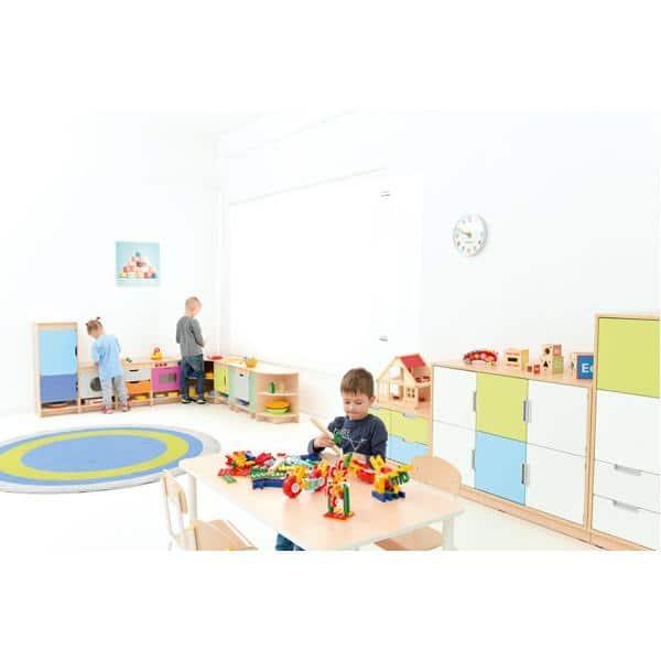 Kindergarten-Spielecke Küche Quadro - Ahorn - Set mit Kühlschrank 3