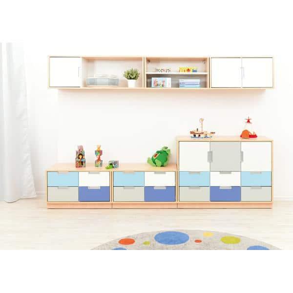Möbelsatz Schrank S+M und Hängeregal - grau/weiß/blau - Quadro 75 - Weiß 1