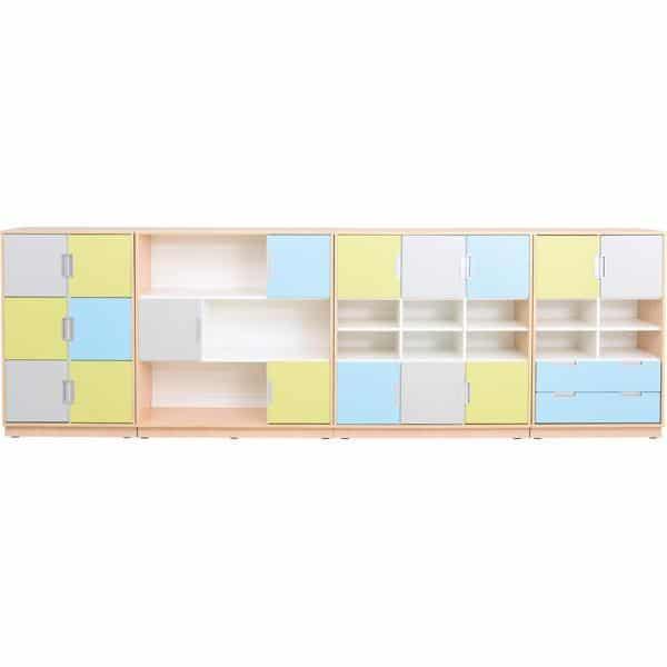 Möbelsatz Schrank L - grau/hellblau/limone - Quadro 79 - Weiß 1
