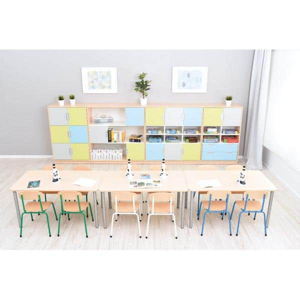 Möbelsatz Schrank L - grau/hellblau/limone - Quadro 79 - Weiß 2