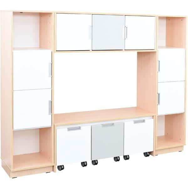 Möbelsatz Bücherecke + Schrank S grau/weiß - Quadro 81 - Ahorn 1
