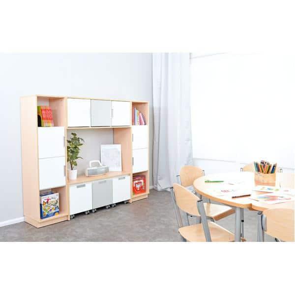 Möbelsatz Bücherecke + Schrank S grau/weiß - Quadro 81 - Ahorn 2