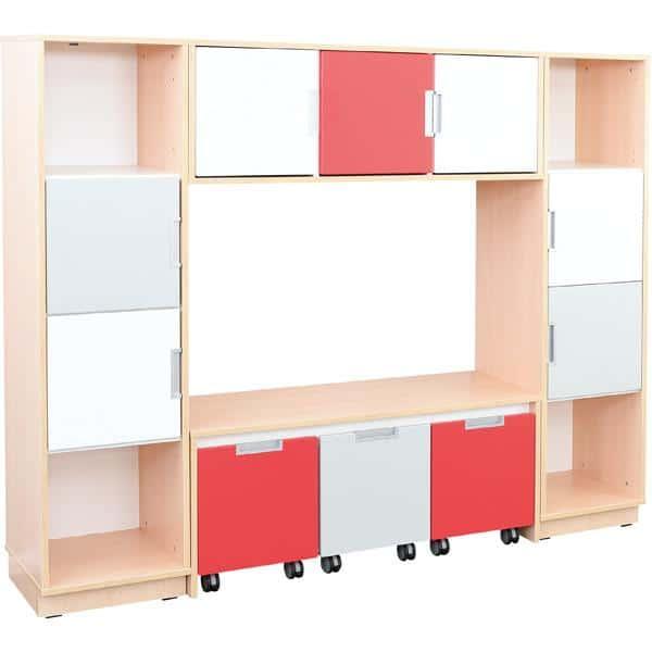 Möbelsatz Bücherecke + Schrank S grau/weiß/rot - Quadro 82 - Weiß 1