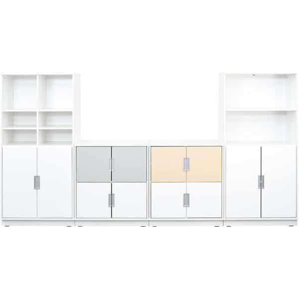 Möbelsatz Schrank M+XL - weiß/grau/beige - Quadro 82-180° - Ahorn 1