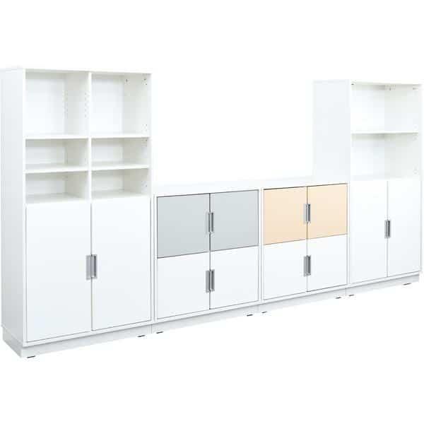 Möbelsatz Schrank M+XL - weiß/grau/beige - Quadro 82-180° - Ahorn 2