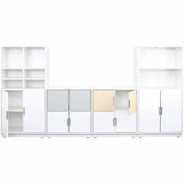 Möbelsatz Schrank M+XL - weiß/grau/beige - Quadro 82-180° - Ahorn 3