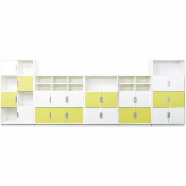 Möbelsatz Schrank L+XL - weiß/limone - Quadro 83W-180° - Weiß 1