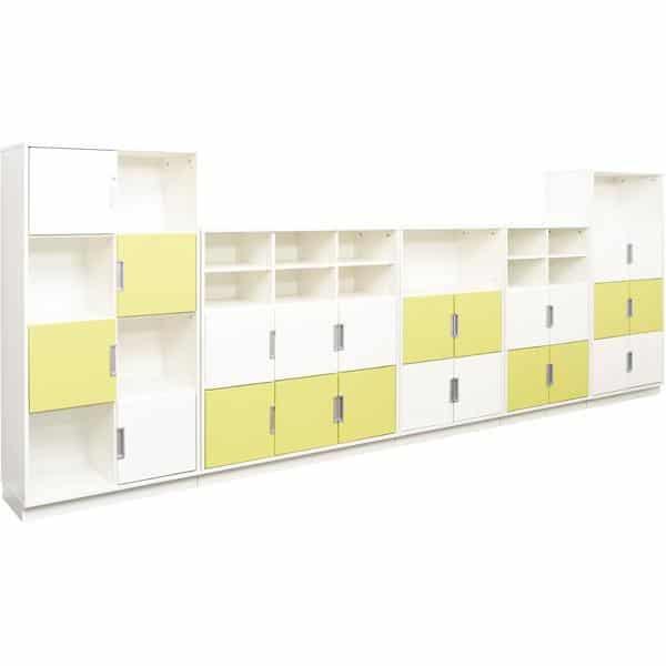 Möbelsatz Schrank L+XL - weiß/limone - Quadro 83W-180° - Weiß 2