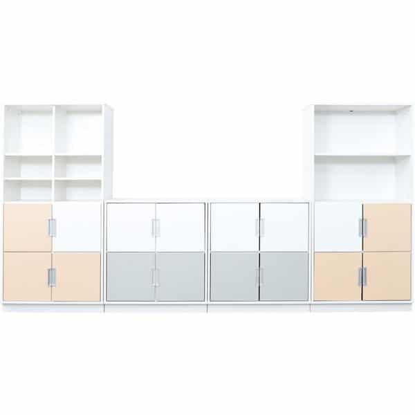 Möbelsatz Schrank M+XL - weiß/grau/beige - Quadro 84-180° - Ahorn 1