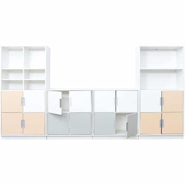 Möbelsatz Schrank M+XL - weiß/grau/beige - Quadro 84-180° - Ahorn 2