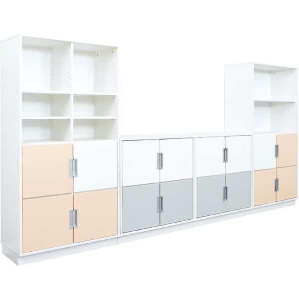Möbelsatz Schrank M+XL - weiß/grau/beige - Quadro 84-180° - Ahorn 3