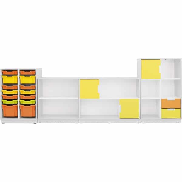 Möbelsatz Schrank M+L orange/gelb/limone - Quadro 86-180° - Weiß 1