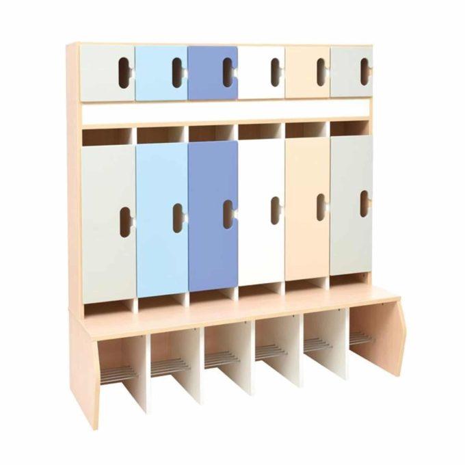 Kindergarten-Garderobe Grau-Blau-Töne - Chamäleon 6 - Ahorn mit Türen 1